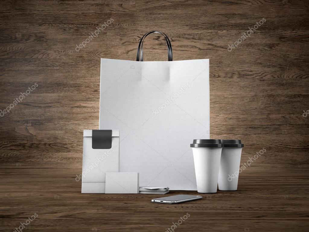 Ensemble De Sac Blanc Artisanat Commercial Deux Tasses Caf Des Cartes Visite