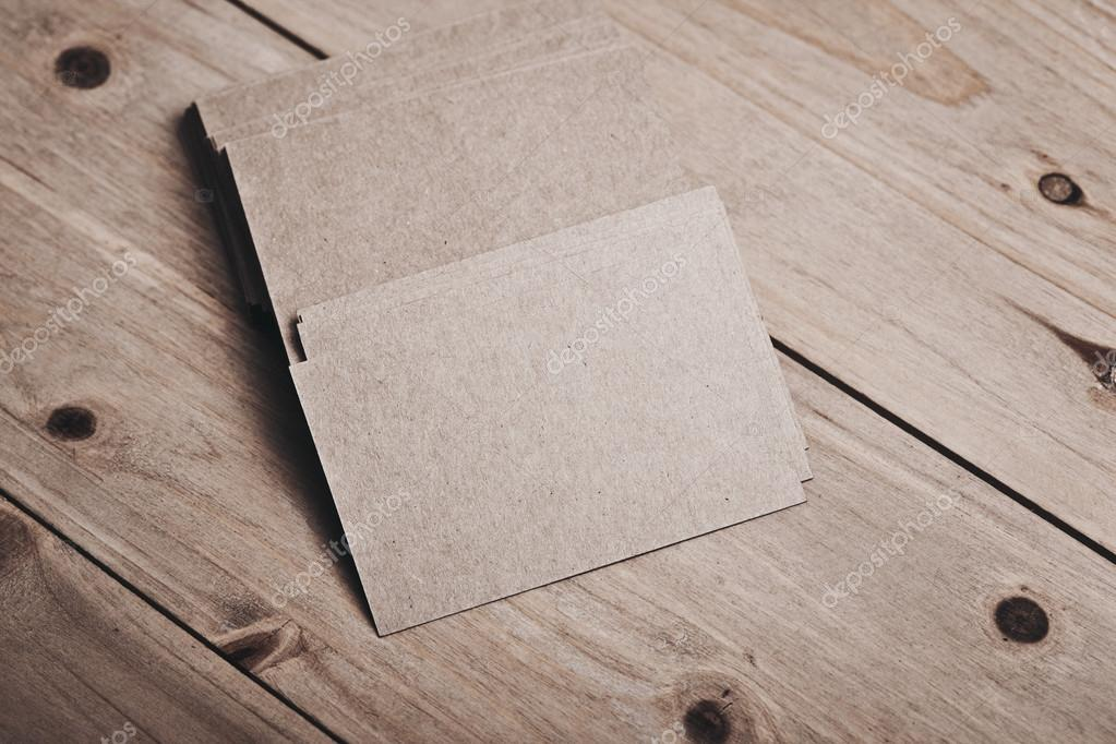 blank and craft business cards on natural wooden table photo by kantver - Craft Business Cards