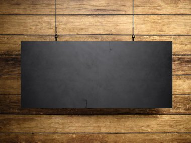 Photo of blank black vintage canvas hanging on the wood background. 3d render