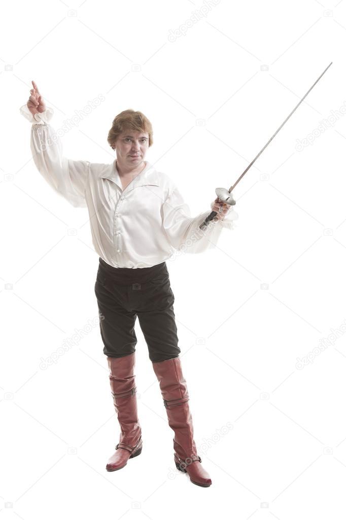 Человек в средневековой одежде с мечом — Стоковое фото ...