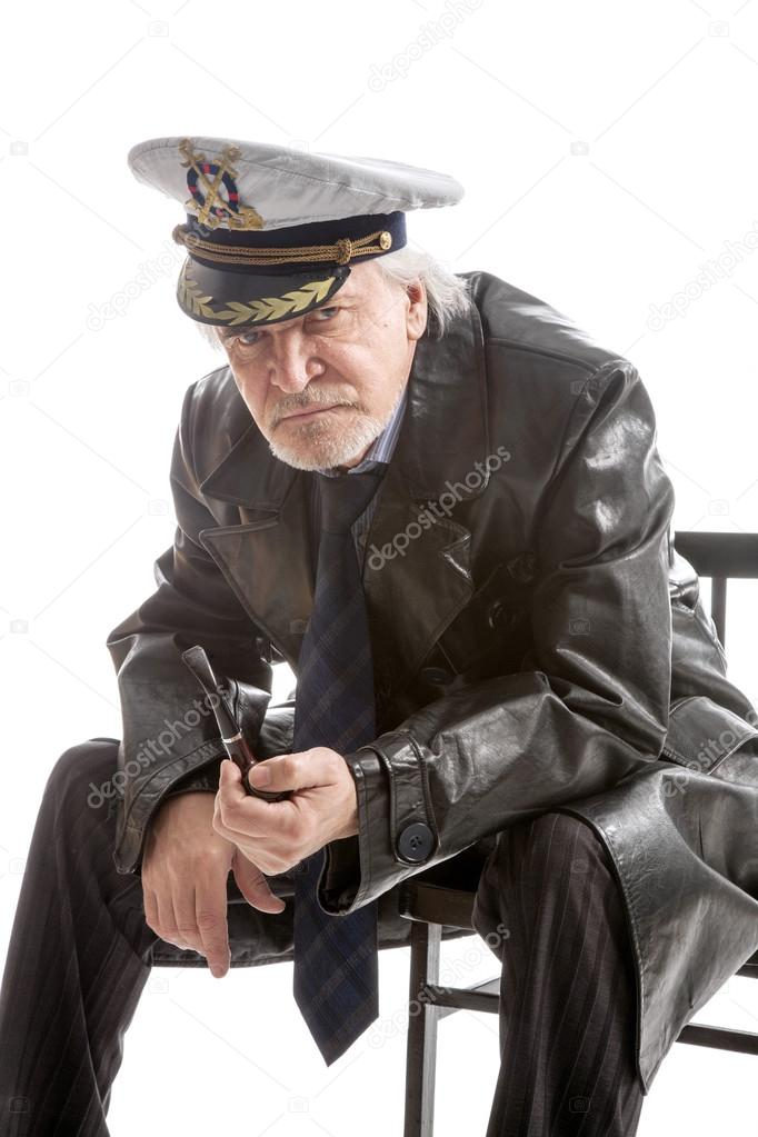 old sailor man in hat with pipe — Stock Photo © sdigitall  89714330 88abbdd13a2