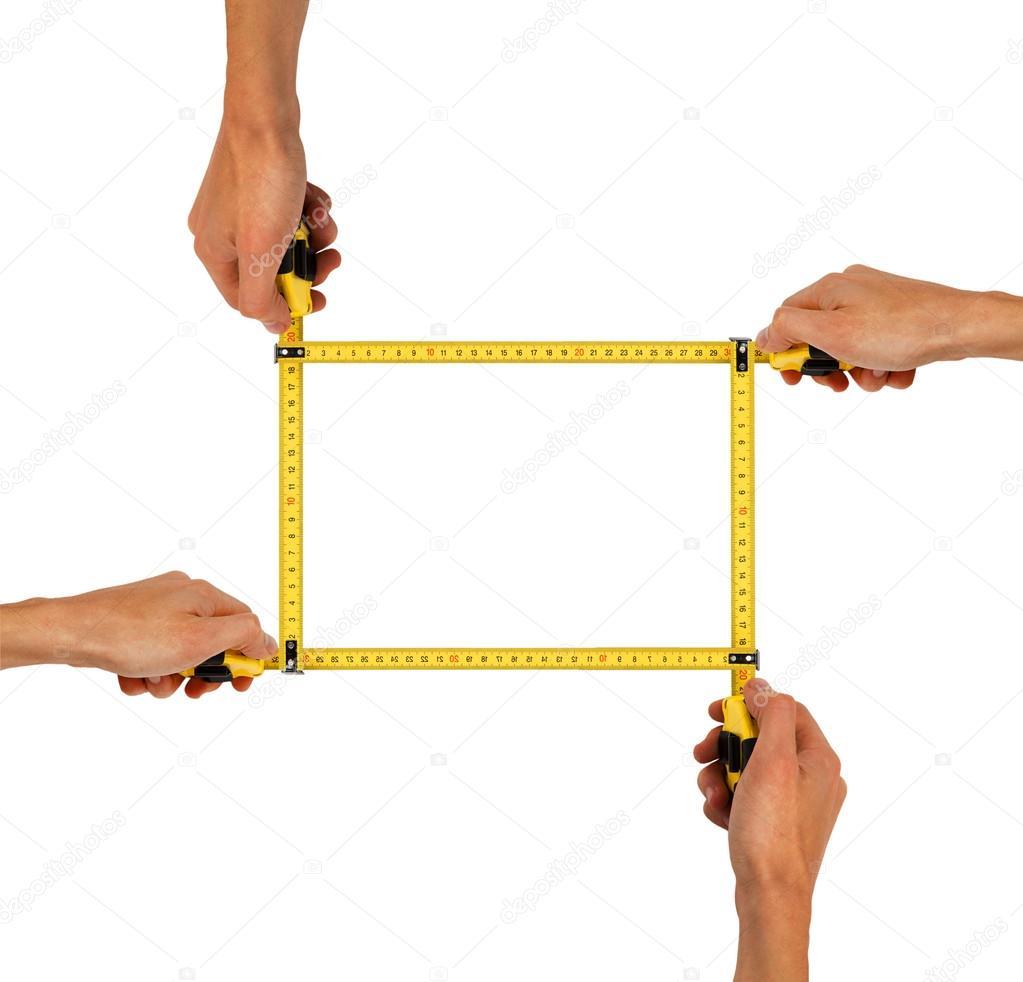 Marco de manos con cintas de medición — Foto de stock © GeniusKp ...
