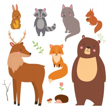 Set of cute illustration of  woodland animals isolated on white background. Animals for design posters, card, postcard, wallpaper in children room or fabric stock vector