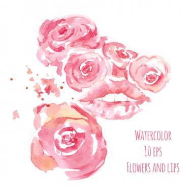 Watercolor illustration with pink flowers and sensual lips stock vector