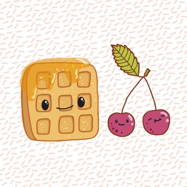 Doodle waffles and cherries