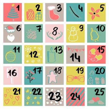 Painted in ink Advent calendar. Beautiful and charming illustrat