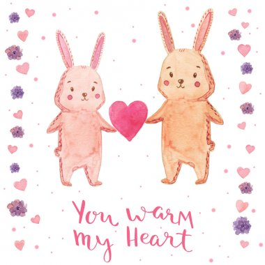 Watercolor illustration rabbit with heart. Bright design for kid party. You warm my heart - handmade calligraphy.