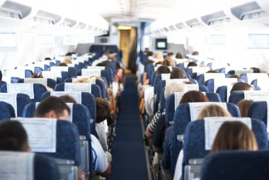 blurry defocused image of passenger on airplane