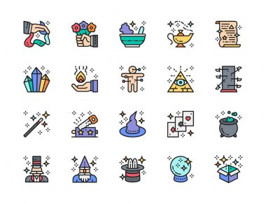 Set of Magic Show Flat Color Line Icons. Potion Bowl, Witch Hat, Playing Cards, Illusionist, Wizard, Spell Scroll, Circus, Oriental Lamp and more. Pack of 48x48 Pixel Icons icon