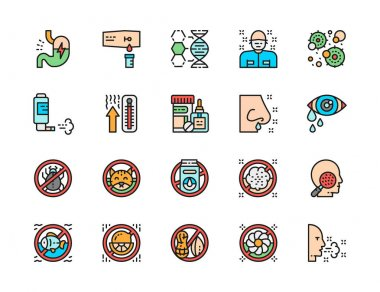 Set of Allergy and Allergens Flat Color Line Icons. Patient, Microbes, Inhalation Spray, Thermometer, Medical Drugs, Skin Problems and more. Pack of 48x48 Pixel Icons icon