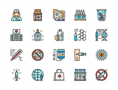 Set of Vaccination Flat Color Line Icons. Vaccine, Hospital, Ampoules, Thermometer, Dropper, Bacteria, First Aid Kit and more. Pack of 48x48 Pixel Icons icon