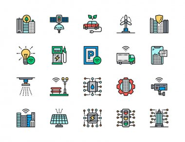 Set of Smart City Flat Color Line Icons. Clean Town, Space Satellite Station, Electric Car, Wind Turbines, Parking, Security Camera, Solar Battery, Traffic Light and more. Pack of 48x48 Pixel Icons icon