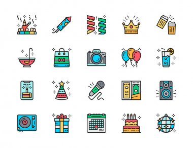 Set of Party Flat Color Line Icons. Celebration, Firecracker, Garlands, Crown, Alcohol, Photo Camera, Balloons, Karaoke, Disco Ball and more. Pack of 48x48 Pixel Icons icon