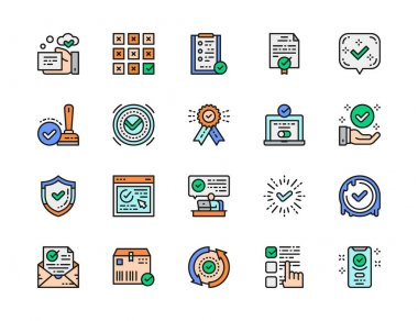Set of Check Mark and Approve Flat Color Line Icons. Certificate, Website Authorization, Hand Verification, Ok Button, Best Choice, Quality Control and more. Pack of 48x48 Pixel Icons icon