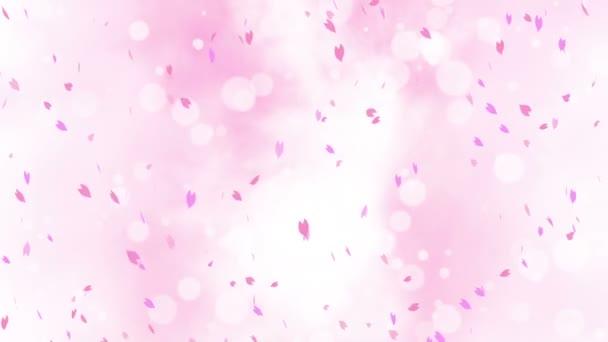 Színes, fényes szirmok lengtek a tavaszi háttérben napkitörésekkel. Gyönyörű természeti jelenet. Illusztráció cseresznyevirág szirmok. Absztrakt tavaszi grafika. Hurokanimáció.