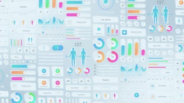 Tvůrčí design lékařského využití. Neumorfizmus. Hi tech panel. Zdravotní a lékařská koncepce. UI, UX, GUI mobilní obrazovky moderní infographic. Animace smyčky.