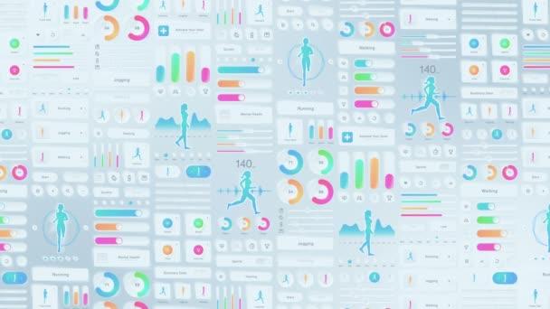 Kreativní design fitness aplikace. Neumorfizmus. Hi tech panel. Běh a sportovní koncept. UI, UX, GUI mobilní obrazovky moderní infographic. Animace smyčky.