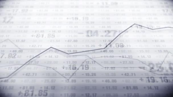 Graf a čísla na burze. Koncepce podnikatelského úspěchu a růstu. Monochromatický. Abstraktní finanční graf na obrazovce. Animace smyčky.