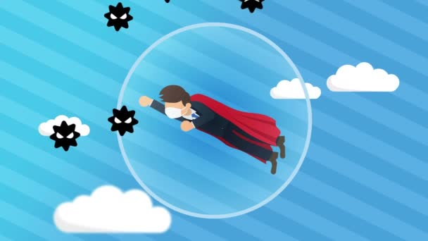 Businessman flying against virus. Medical protection concept. Suit and cape. Business leadership and overcome. Loop animation.