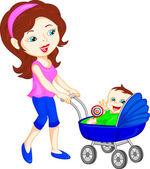 giovane madre con il bambino nel passeggino