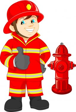Fire fighter cartoon thumb up