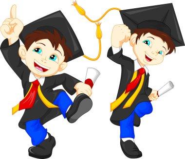 Happy boy graduates