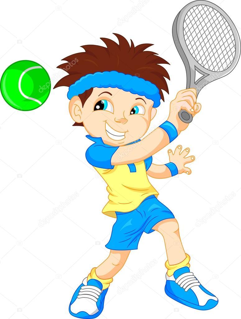小男孩网球...