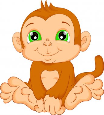 cute baby monkey cartoon