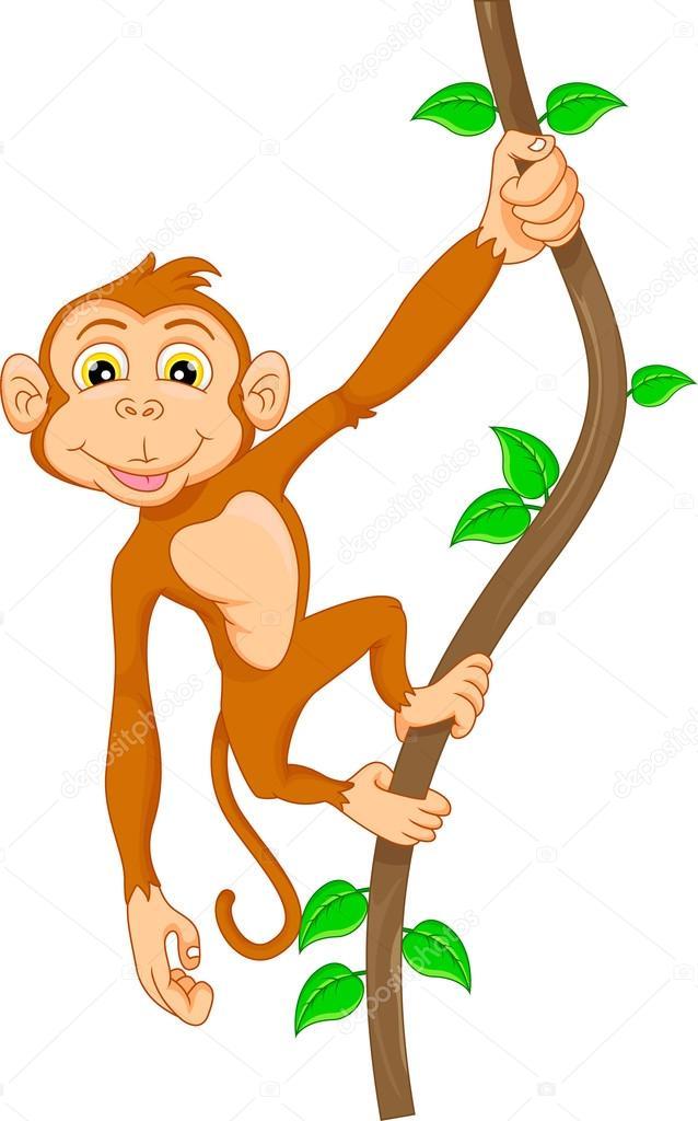 Singe de dessin anim accroch dans l 39 arbre image - Dessin de singes ...