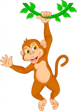 Cartoon monkey hanging in tree