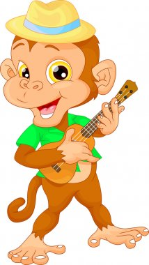 cute monkey with ukulele