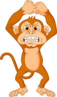 vector illustration of angry monkey cartoon