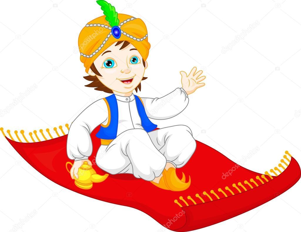 aladino su un tappeto volante — vettoriali stock © thodoristibilis