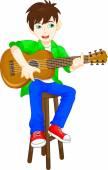 Fotografie süsser Boy Gitarre spielen