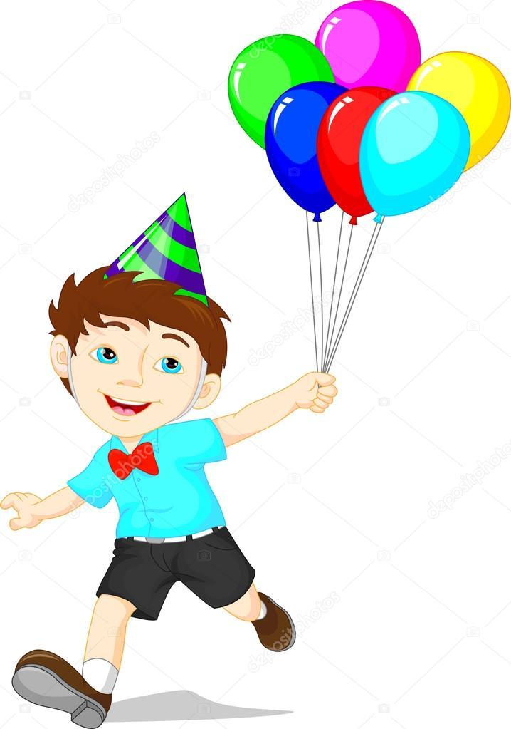 Imágenes: niño con globos dibujo | Niño de dibujos animados con ...