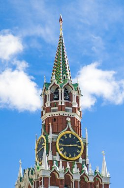 Spasskaya Tower of Moscow Kremlin on the Red Square in Moscow