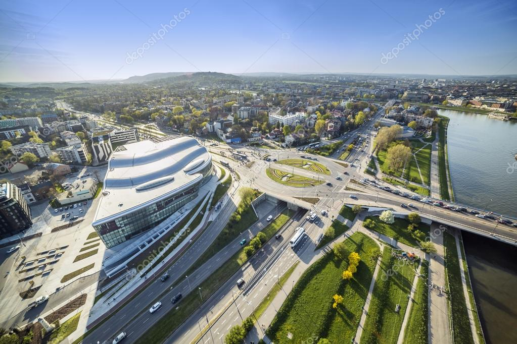 Panorama from above of modern part of  Krakow