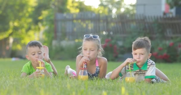 childs pít džus na trávě childs pít čerstvý pomerančový džus ze sklenic a koktejl brčka venku. Malí chlapci a dívka se baví za slunečného dne. rodinný letní prázdninový koncept