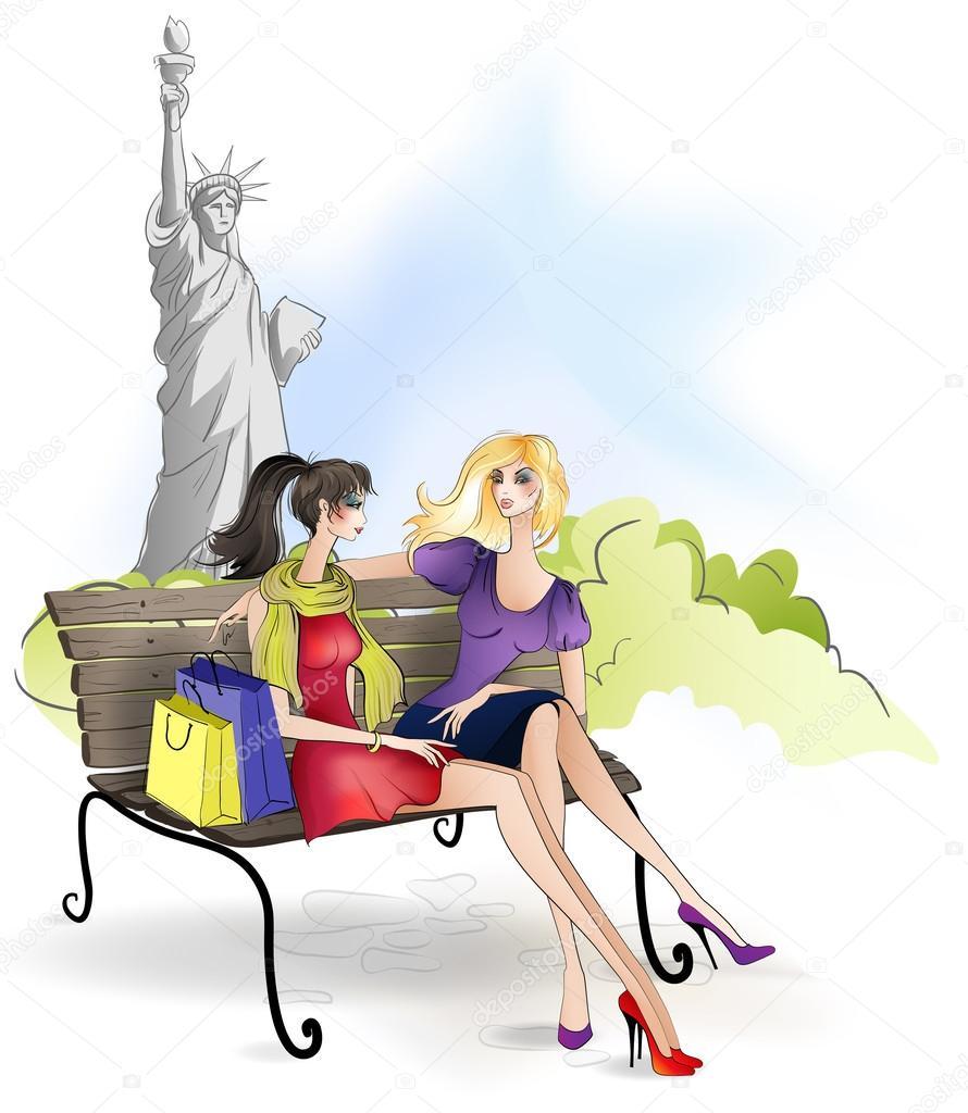Freundin Sitzen Auf Der Bank In New York City Stockvektor Erom