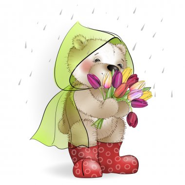 Teddy bear with a bouquet of tulips standing in the rain clip art vector