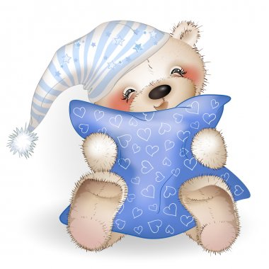 Happy Teddy Bear hugging a pillow 4