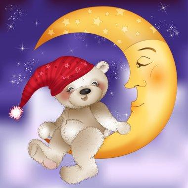 Teddy bear sitting on the moon