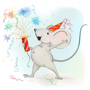 Happy cartoon mouse makes fireworks