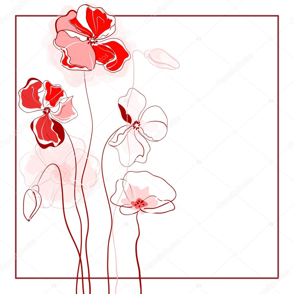 Beautiful floral background of poppies