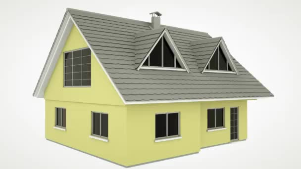 Instalace solárních panelů na dům animace