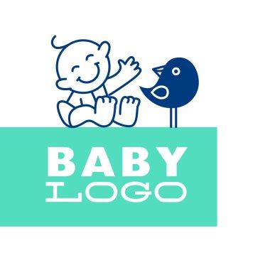 Vector simple flat kid logo.