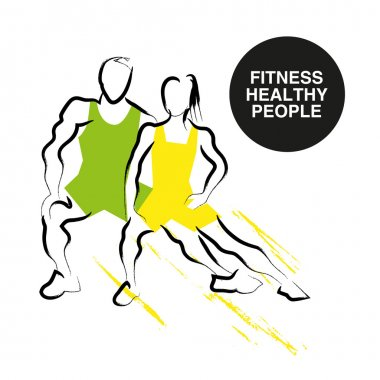 Vector hand drawn fitness people sketch.