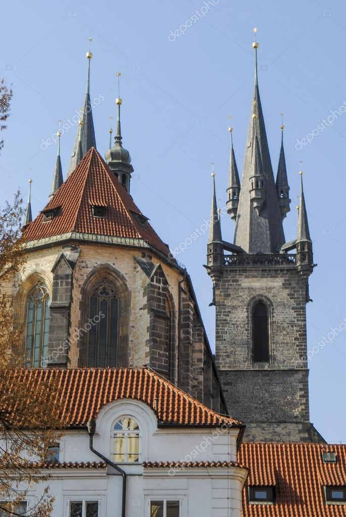 Photograph Of Ancient Gothic Building With Small Figured Tower Old Church Red Roof On