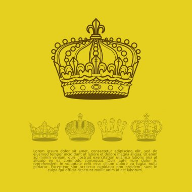 Collection of vintage elegant ancient crowns with text space. Vector crown set. Aristocracy insignia emblem design.