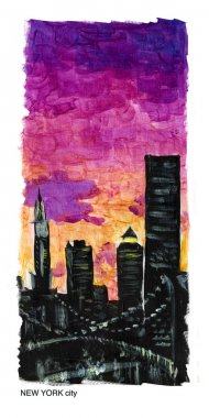 Watercolor hand drawn illustration of New York at night time. Night city view at sunset. Citylights. Good for magazine illustration or placard or memory postcard design.